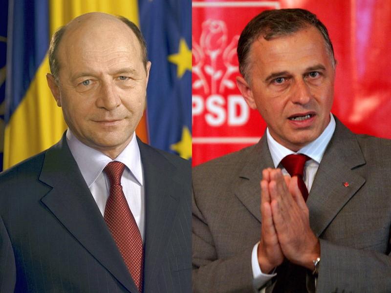 Traian Basescu (links) en Mircea Geoana