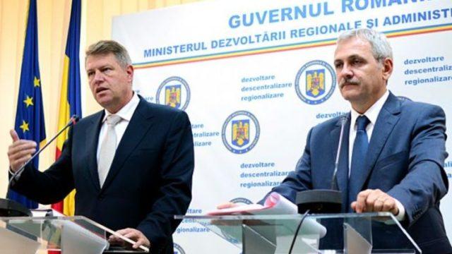 President Klaus Iohannis (links) en PSD leider Liviu Dragnea - Foto: Cosmin Iftode